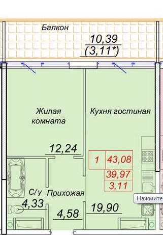продажа однокомнатной квартиры номер A-131862 в Приморском районе, фото номер 2